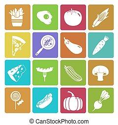 nourriture, légume, ensemble, coloré, icône