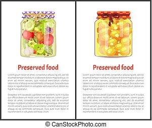 nourriture, légumes, conservé, fruits, affiches, ou