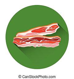 nourriture, lard, viande, icône
