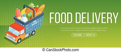 nourriture, livraison, bannière, service