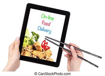 nourriture, livraison, concept, ligne
