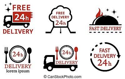 nourriture, livraison, ensemble, services, icônes