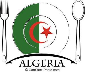 nourriture, logo, drapeau, fait, algérie