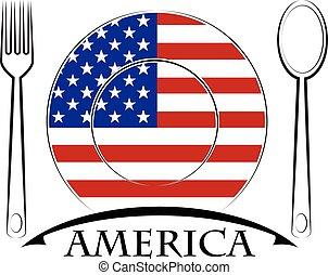 nourriture, logo, drapeau, fait, amérique