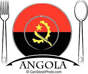 nourriture, logo, drapeau, fait, angola