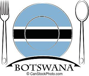 nourriture, logo, drapeau, fait, botswana