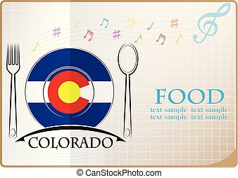 nourriture, logo, drapeau, fait, colorado