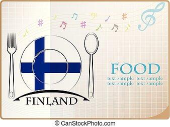 nourriture, logo, drapeau, fait, finlande