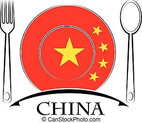 nourriture, logo, drapeau, fait, porcelaine