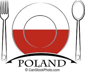 nourriture, logo, pologne, fait, drapeau