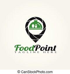 nourriture, logo, vecteur, conception, point