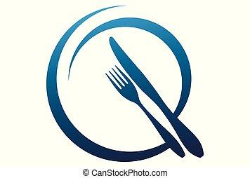 nourriture, logo, vecteur, icône