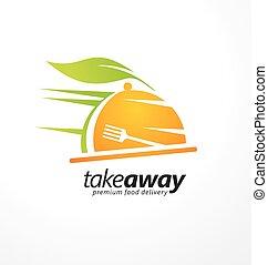 nourriture, loin, idée, conception, prendre, logo