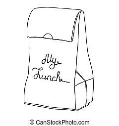 nourriture, lunch., déjeuner, mon, art, object., lunchbox., sac, vecteur, ligne