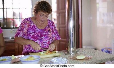 nourriture, mère, préparer, cuisine