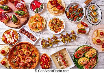 nourriture, mélange, tapas, pinchos, espagne