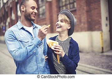 nourriture mangeant, sommet, jeûne, couple, vue