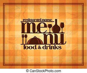 nourriture, menu, boissons, retro, restaurant
