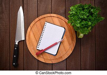 nourriture, menu, concept., planche découper, fond, planches