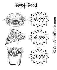 nourriture, menu, isolé, jeûne, main, dessiné, blanc, toile de fond
