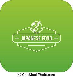 nourriture, menu, japonaise, vecteur, vert, icône