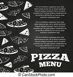 nourriture, menu, -, jeûne, conception, tableau, affiche, bannière, pizza