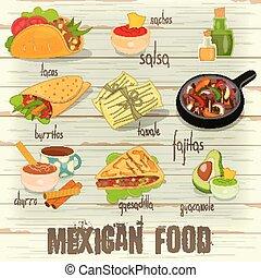 nourriture, menu, mexicain