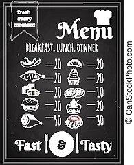 nourriture, menu, vecteur, conception, affiche