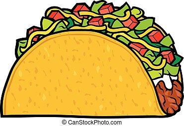 nourriture, -, mexicain, taco