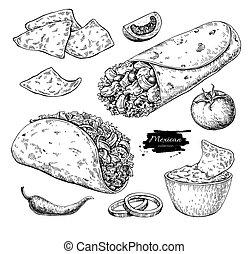 Nourriture dessin nourriture sur illustration vecteur fond blanc dessin - Cuisine mexicaine traditionnelle ...