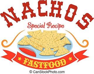 nourriture mexicaine, menu, maïs, jeûne, emblème, nachos, chips