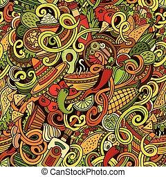nourriture mexicaine, modèle, seamless, doodles, dessin...