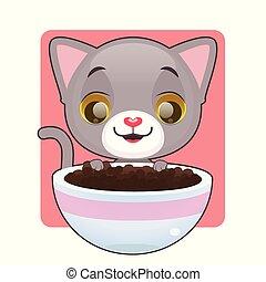 nourriture, mignon, chaton, regarder, gris