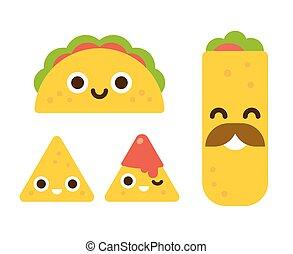 nourriture, mignon, mexicain