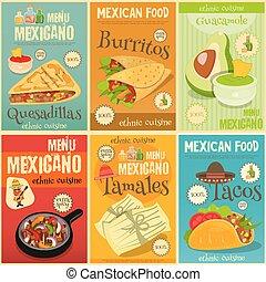 nourriture, mini, ensemble, mexicain, affiches
