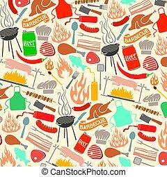 nourriture, modèle, barbecue, fond, icônes