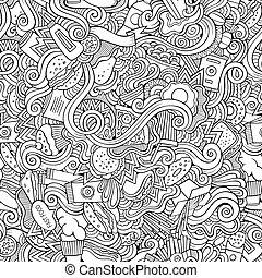 nourriture, modèle, résumé, seamless, jeûne, doodles