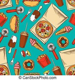 nourriture, modèle, retro, jeûne, seamless