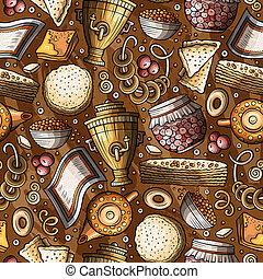 nourriture, modèle, seamless, hand-drawn, russe, dessin animé