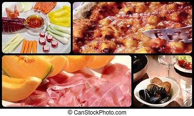 nourriture, montage, italien