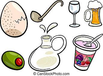 nourriture, objets, ensemble, dessin animé, illustration