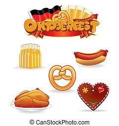 nourriture, oktoberfest, boisson, icons.