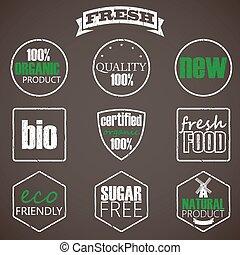 nourriture, organique, étiquettes