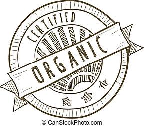 nourriture, organique, certifié, étiquette