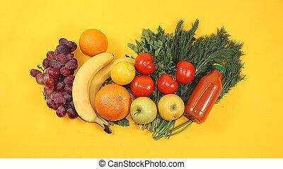 nourriture, organique, sain, ingrédients, citrus, poser, texte, concept., style de vie, endroit, bananes, fruits, raisins, table, régime, jaune, herbes, plat, légumes