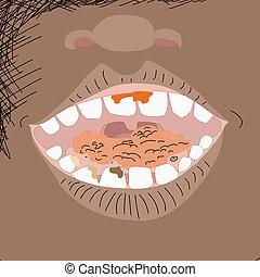 nourriture, ouvrez bouche