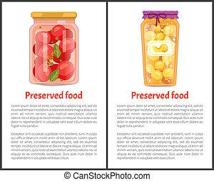 nourriture, pêches, bannières, conservé, tomates