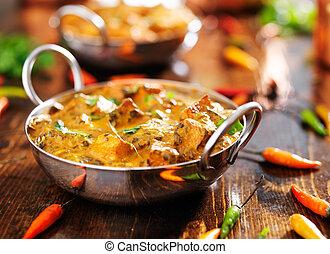nourriture, -, paneer, saag, indien, plat, curry