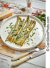 nourriture, parsley., asperge, rôti, vue, sain, concept., fromage, printemps, above., parmesan