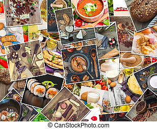 nourriture, photos, table bois